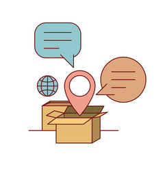 set cardboard with callout and symbol global and vector image