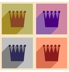 Set of flat icons with long shadow British crown vector
