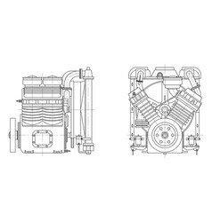 Sketch internal combustion engine vector