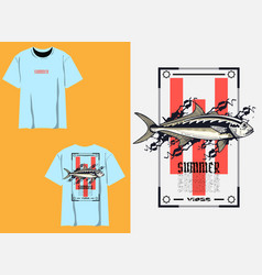 Summer t shirt design with fish vector