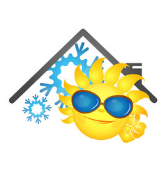 Sun fun and snowflake air conditioner vector