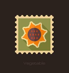 sunflower flat stamp vegetable vector image