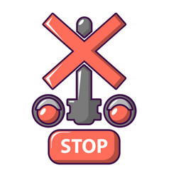 Traffic light stop railway icon cartoon style vector