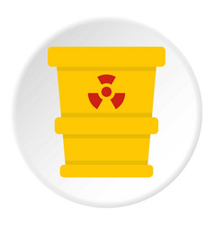 Ttrashcan containing radioactive waste icon circle vector