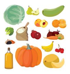 vegetables fruits berries cereals oil vector image