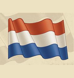 Vintage flag netherlands vector