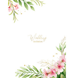 Watercolor card pink flowers and almond vector