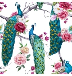 Watercolor peacock and flowers pattern vector