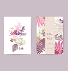 wedding invitation dried pastel flowers floral vector image