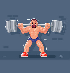 weightlifter with barbell muscles sport beautiful vector image