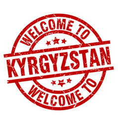 welcome to kyrgyzstan red stamp vector image