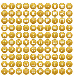 100 musical education icons set gold vector