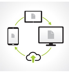 cloud upload connect media transfer icons vector image vector image