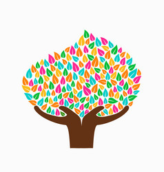 hand tree concept for social help vector image