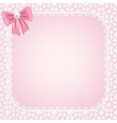lace frame on pink background vector image vector image