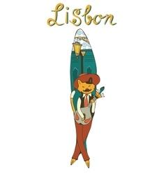 Lisbon sardine as a symbol of popular sardine fest vector image vector image
