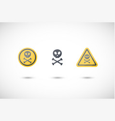 poison sign flat icons set vector image