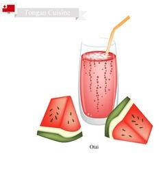 Red Watermelon Otai or Tongan Watermelon Drink vector image vector image
