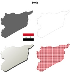 Syria outline map set vector image vector image
