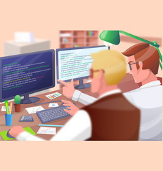 web developers poster on vector image