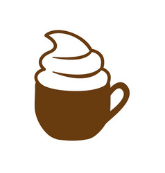 brown cup of cappuccino with cream vector image