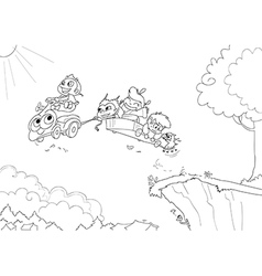Children driving a flying car -Coloring vector image