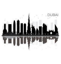 dubai city skyline black and white silhouette vector image