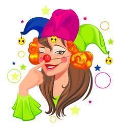 fools day woman clown vector image