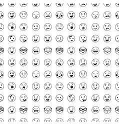 Seamless pattern of hand drawn lines smiles vector image