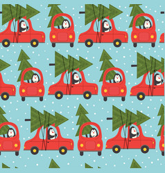 seamless pattern with penguin in car vector image vector image