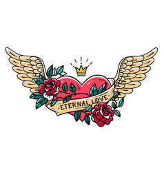 tattoo heart with wings ribbon roses and crown vector image