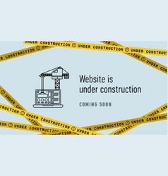 website in under construction banner flat web vector image