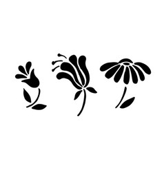 black flowers icon set simple blossom collection vector image