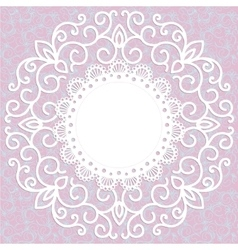 decorative pink vintage card with a pattern vector image vector image