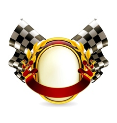 Flag checkered emblem vector image vector image