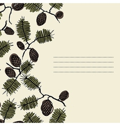 frame for text with fir cone and twig vector image