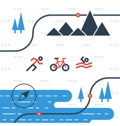 Running cycling and swimming sports icons vector image vector image