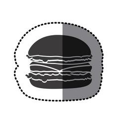 sticker shading monochrome hamburger food icon vector image vector image