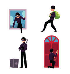 thief burglar trying to steal money break in vector image