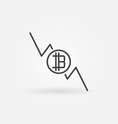 bitcoin graph falls icon - cryptocurrency vector image