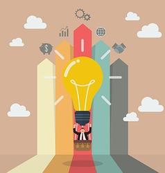 Businessman on lightbulb balloon with arrow bar vector image vector image