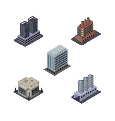 isometric urban set of company office water vector image vector image