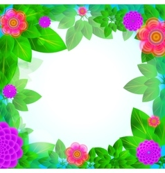 leaves and flowers frame vector image vector image