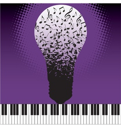 Music Notes Bulb vector image vector image