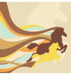retro background with horses vector image