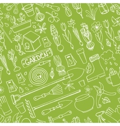 Spring garden doodlesColored seamless pattern vector image vector image