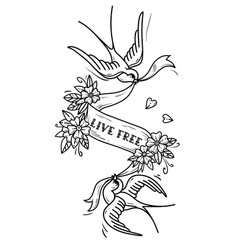 two birds fly and carry ribbon in flowers vector image