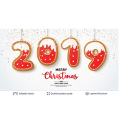 2019 number of gingerbread cookies on light banner vector