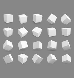 3d cubes white blocks with different lighting vector