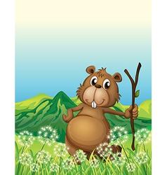 A beaver near the grass vector
